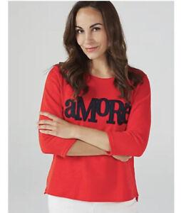WULI:LUU by Gok Wan Amore Slogan Sweatshirt Orange Red Small RRP £39.99 New