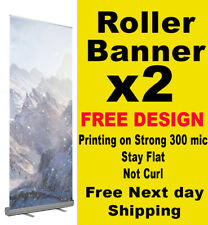 2 x Roller Up Banner Pull Up Pop up FREE DESIGN exhibition stand 80x200cm