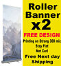 2 x Roller Up Banner Pull Up Pop up FREE DESIGN exhibition stand 85x200cm