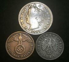 Authentic Nazi Coins 3rd Reich with SWASTIKA and V Nickel US Collectors Lot