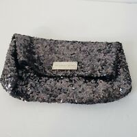 VICTORIA'S SECRET BLACK SPARKLE SEQUIN CLUTCH PURSE / MAKEUP COSMETIC CASE BAG