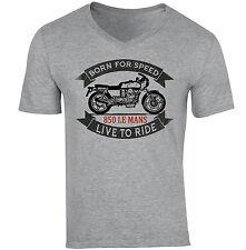 MOTO GUZZI 850 LE MANS-NUOVA cotone grigio V-Neck T-shirt