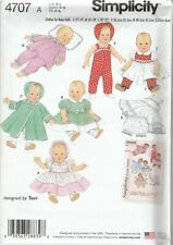Simplicity Sewing Pattern 4707 Vintage Baby Dolls Clothes Dress Coat Hat SML