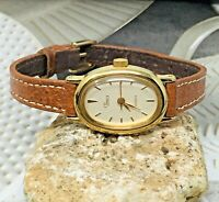 Timex Vintage 1992 Gold Tone/Oval/Thin Brown Leather Quartz Watch New Battery!