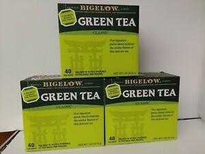 Bigelow Green Tea Classic 3 Boxes of 40 Tea Bags=120 Total Bags Exp.06/24