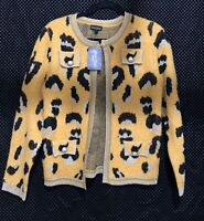 Dor Dor Couture Animal Print Cardigan Sweater Size L Large NWT