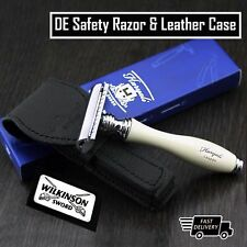 Men's Shaving Classic DE Safety Razor + Protective Leather Case Grooming for Him