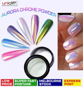 Aurora Mermaid Unicorn Powder AB Chrome Effect Nail holographic Rainbow Shine AU