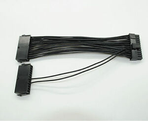 ATX 15cm 24 Pin Dual PSU Power Supply Extension Cable for Computer Adaptor Cable