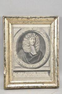 k65r06- Alter Stich, Porträt, bez. versilberter Rahmen, 17. Jh.