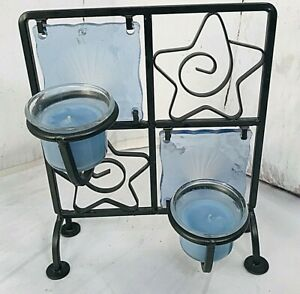 """Blue Glass Shells Stars Iron Candle Holder Table Stand 2 Tea Lights 9"""" High 817F"""