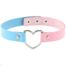 Heart Choker Stainless Steel Leather Necklace Pastel Goth Harajuku Kawaii Pastel