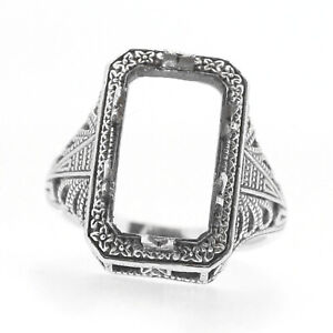 Filigree Sterling Silver Semi Mount Ring Setting Cushion 14x8mm Sulfur Oxidized