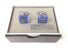 $72 KENNETH COLE MENS BLUE CAT EYE CUFFLINKS FORMAL WEDDING DRESS WRIST CUFFS