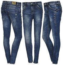 Lexxury Boyfriend Damenjeans Damen Jeans Hose Haremshose Herbst Strass Blau