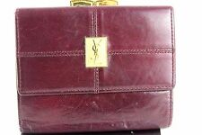 Auth Yes Saint Laurant Logo Gold Tone Bordeaux leather Kissing Lock Wallet Coin