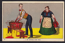 Comic-Humor-Couple-Dyeing For You-Tub of Red Dye-Julius Bien-Antique Postcard
