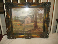 Antique Picture Frame Antique Print Faux Wood Frame Farm House Picket Fence