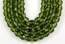 50 Fire Polished Czech Faceted Dark Olive Green Round Glass Craft Beads 6mm