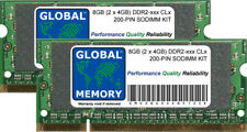 8gb (2x 4gb) DDR2 667mhz pc2-5300 / 800mhz pc2-6400 200 pines Memoria RAM Laptop