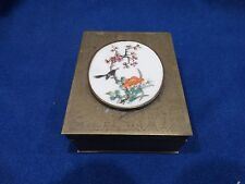 VINTAGE CHINESE BRASS WOOD LINED BOX BIRD FLORAL DESIGN
