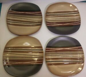 "4 Striped Square Dinnerware Salad Stoneware Plates 8.75"""
