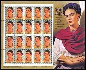 US #3509 MNH M/S CV$16.00 2001 Frida Kahlo Mexican Painter & Eyebrow Enthusiast