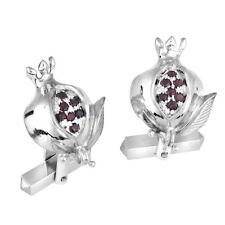 Sterling Silver Men's Jewelry Shirt Judaica Pomegranate Cufflinks Red Garnet Gem