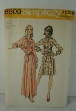 #5909 Vintage Simplicity Sewing Pattern Pleated Short and Long Dress Size 8