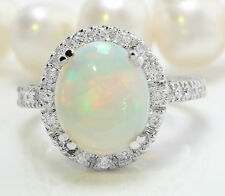 3.50 CTW Natural Ethiopian Opal and Diamonds in 14K Solid White Gold Women Ring