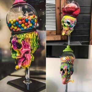 Halloween Colorful Skull Bubble Gum Machine Statues Ornaments Home Party Decor
