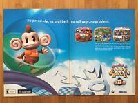 Super Monkey Ball Nintendo Gamecube 2001 Vintage 2-Page Poster Ad Print Art Rare