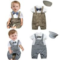 Baby Boy Wedding Christening Formal Party Tuxedo Suit Outfit Cloth+Hat Set 3-18M