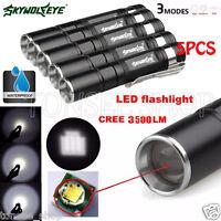 5PCS ZOOM 3500LM Q5 LED 3Modes AAA Flashlight Mini Torch Lamp Super Bright