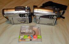 Lot Of 2 Hitachi Dvd Video / Movie Camcorders Dz-Gx5080A & Dz-Bx35A & Extras