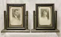 Set/2 5x7 Art Deco Wood Picture Frame Silver Gilt Pedestal Swing Swivel Tilt VTG