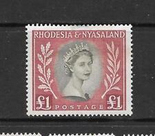 1954 Queen Elizabeth II SG15 £1 Olive & Lake Mint Hinged RHODESIA & NYASALAND