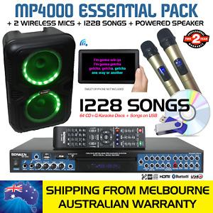 SONKEN PRO MP4000 KARAOKE MACHINE 1228 SONGS + 2 WIRELESS MICS + POWERED SPEAKER