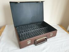 Cassette Tape Storage Holder Carry Case Brown Briefcase x32 capacity bh