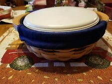 New Listing2004 Longaberger Round Serving Basket Combo W/Liner And Lidded Protector