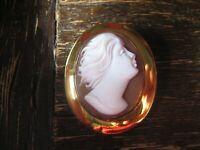 feine moderne Muschelgemme Kamee Cameo Anhänger Brosche 925er Silber vergoldet