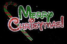 "Rhinestone Iron on heat Transfer Hot Fix Bling ""colorful merry Christmas"""