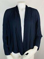Eileen Fisher Womens Medium Navy Blue Open Front Top Blouse Cardigan Lagenlook