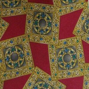 Red Gold Foulard Silk Tie