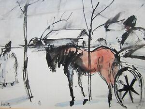 István Szegedi-Szüts (Budapest 1893-1959), DROSHKI, Rare Painting, HUNGARIAN