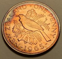 1965 GREAT BRITAIN ONE PENNY BU UNC COLOR TONED COIN  #4