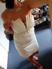 Cocktail Kleid Abendkleid Partykleid extravagant cremeweiß Gr. 36 38 (L)