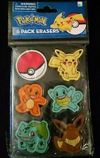 "Pokemon Nintendo 6 Pack Pencil Erasers 1.5"" Poke Ball , Pikachu & more NEW 2016"