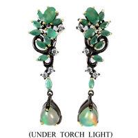 Unheated Pear Fire Opal Rianbow 10x7mm Emerald Cz 925 Sterling Silver Earrings