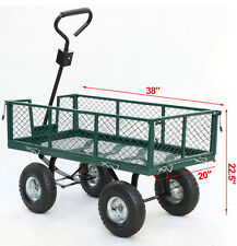 Heavy Duty Steel Garden Yard Utility Cart Wagon Dump Lawn Wheelbarrow Trailer